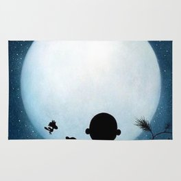Snoopy Charlie is looking at the moon Rug