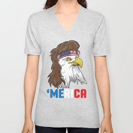 Patriotic Mullet Eagle | Merica Stars and Stripes Unisex V-Neck