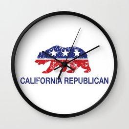 California Political Republican Bear Distressed Wall Clock