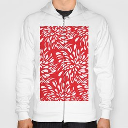 DAHLIA RED AND WHITE PATTERN Hoody