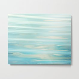 Water Ripples Photography, Aqua Blue Ocean Abstract Art, Turquoise Sea, Seascape Metal Print