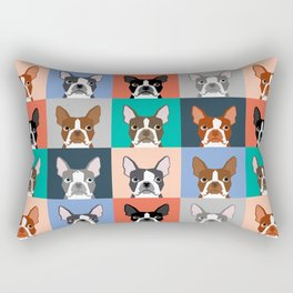Boston Terriers tile pattern cute boston terrier puppies funny dog breed pet art gift for dog person Rectangular Pillow