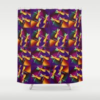 mew Shower Curtains featuring Dragonflies Rainbow Q by Vitta