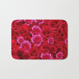NATURE ART OF BED OF RED & PINK ROSE FLOWERS Bath Mat