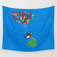 beaver Wall Tapestries featuring Beaver with watermelons on balloons by Lana