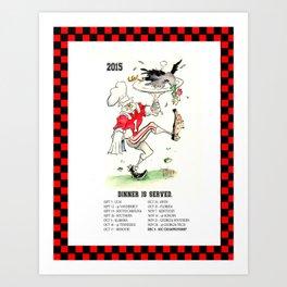 """2015 Bulldog Calendar """"Dinner Is Served"""" Art Print"""