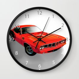 Red American muscle car Wall Clock