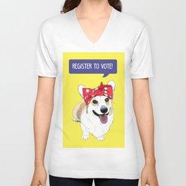 Political Pups - Register To Vote Corgi Unisex V-Neck