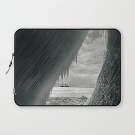 Grotto in berg, Terra Nova in distance, Antarctica black and white photographs / photography by Herbert Ponting Laptop Sleeve