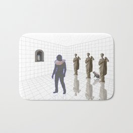 Man in a room with statues and cats_ Bath Mat