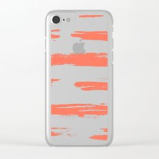 Brushed Stripe Deep Coral on White Clear iPhone Case