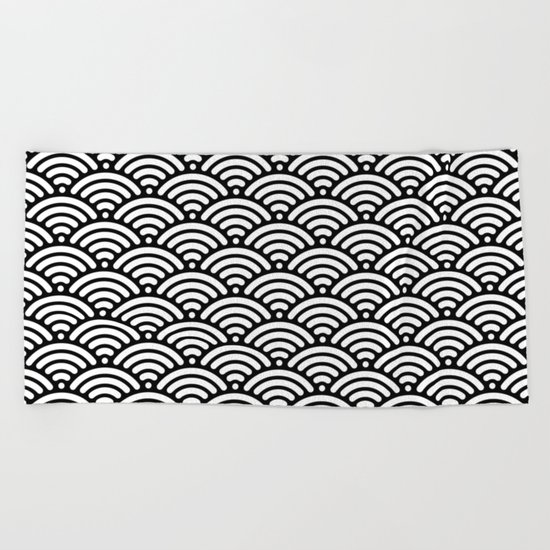 Black White Waves Beach Towel
