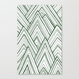 Stripe Mountains - Dark Green Canvas Print
