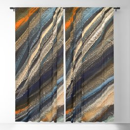 Dark Brushstrokes Painting Blackout Curtain