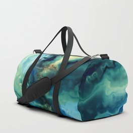 Marbled Ocean Abstract, Navy, Blue, Teal, Green Duffle Bag