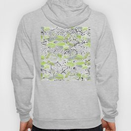 Leaves with black and white outlines and branches Hoody