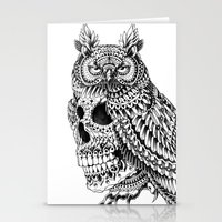 bioworkz Stationery Cards featuring Great Horned Skull by BIOWORKZ