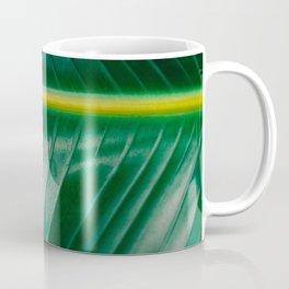 Close Up Of A Banana Leaf Tropical Green Leaf Moisture Droplets Wet Leaf Coffee Mug