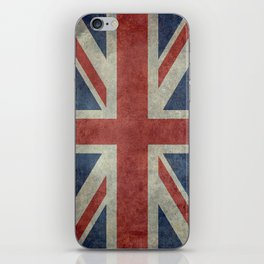 England's Union Jack flag of the United Kingdom - Vintage 1:2 scale version iPhone Skin