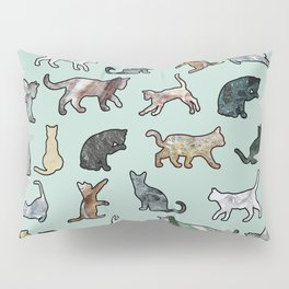 Cats shaped Marble - Mint Green Pillow Sham