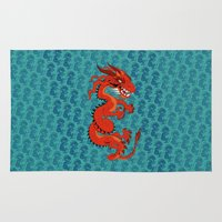 smaug Area & Throw Rugs featuring Red Dragon with Teal by Cartoonasaurus