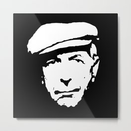 leonard cohen black white art Metal Print