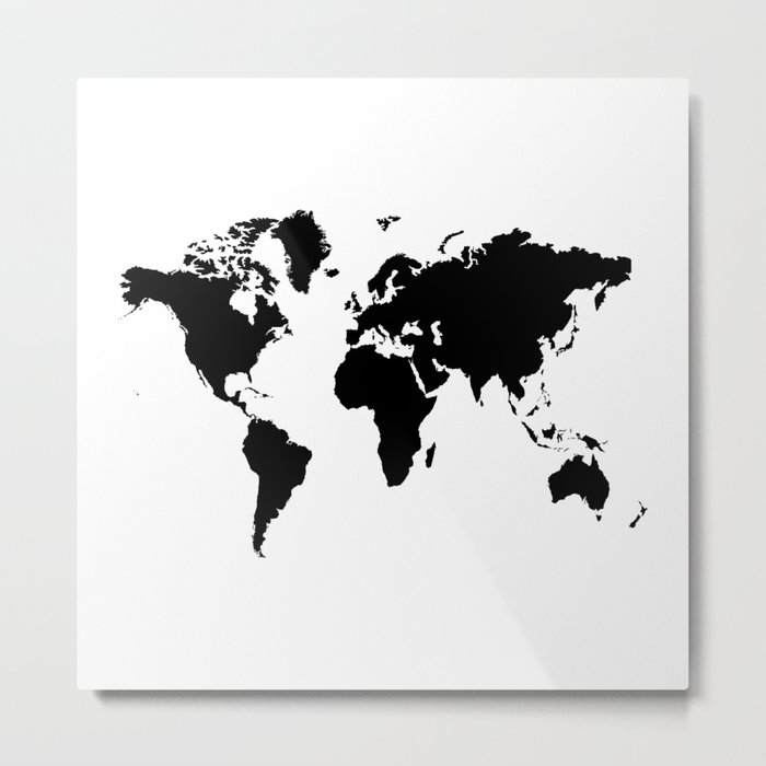 Black and White world map Metal Print