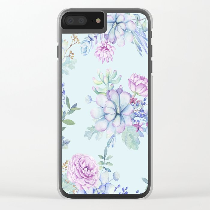 Pastel Succulents 2 #society6 #buyart Clear iPhone Case