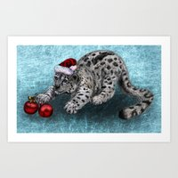 snow leopard Art Prints featuring Snow Leopard by Anna Shell