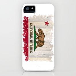 California Republic flag on woodgrain   iPhone Case