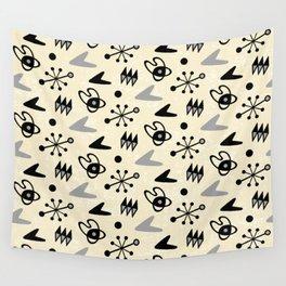 Mid Century Modern Atomic Boomerang Pattern Grey 101 Wall Tapestry