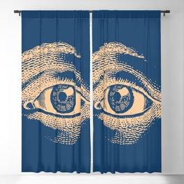 Retro Vintage Blue Eye Pattern Blackout Curtain