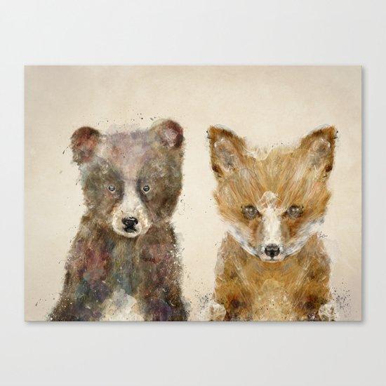 little fox little bear Canvas Print