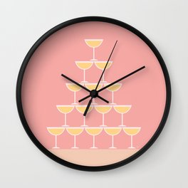 Pink Champagne Tower Wall Clock