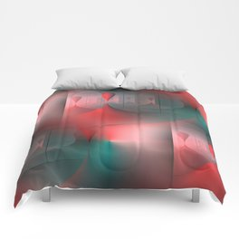mirrored globs red and green Comforters