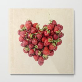 Strawberry Heart on Vintage Paper Metal Print