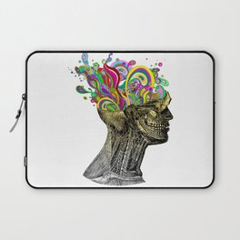 Bright neon pink yellow abstract anatomical skull Laptop Sleeve