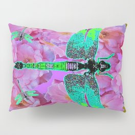 EMERALD DRAGONFLIES  PINK ROSES AVOCADO COLOR Pillow Sham