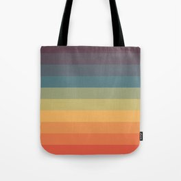 Colorful Retro Striped Rainbow Tote Bag