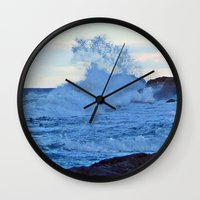 geology Wall Clocks featuring Exploding Surf  by DanByTheSea
