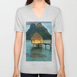 Bora Bora Tahiti Bungalow Unisex V-Neck