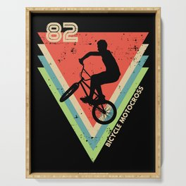 BMX 82 Bicycle Motocross Retro 1982 Bmx Bike Cycle Distressed Vintage Serving Tray