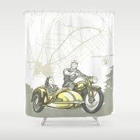 motorbike Shower Curtains featuring Vintage Hockenheim Motorbike Ad by Christine aka stine1