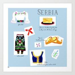 Map of Serbia Art Print