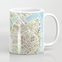 Boston Sepia Watercolor Map Coffee Mug