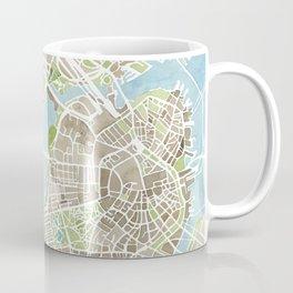 Boston Sepia Watercolor Map Coffee Mug