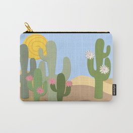 Minimal desert with flowering cacti Carry-All Pouch