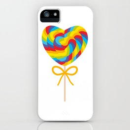 Valentine's Day Heart shaped candy lollipops with bow, colorful spiral candy cane with rainbow iPhone Case