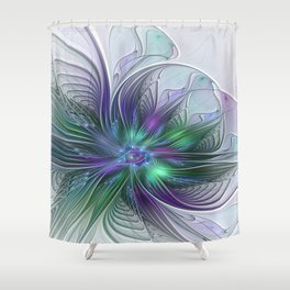 Floral Energy Colorful Abstract Fractal Art Flower Shower Curtain