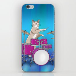 Cat Playing Drums - Blue iPhone Skin